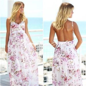 🆕In Bloom Open Back Floral Maxi Dress